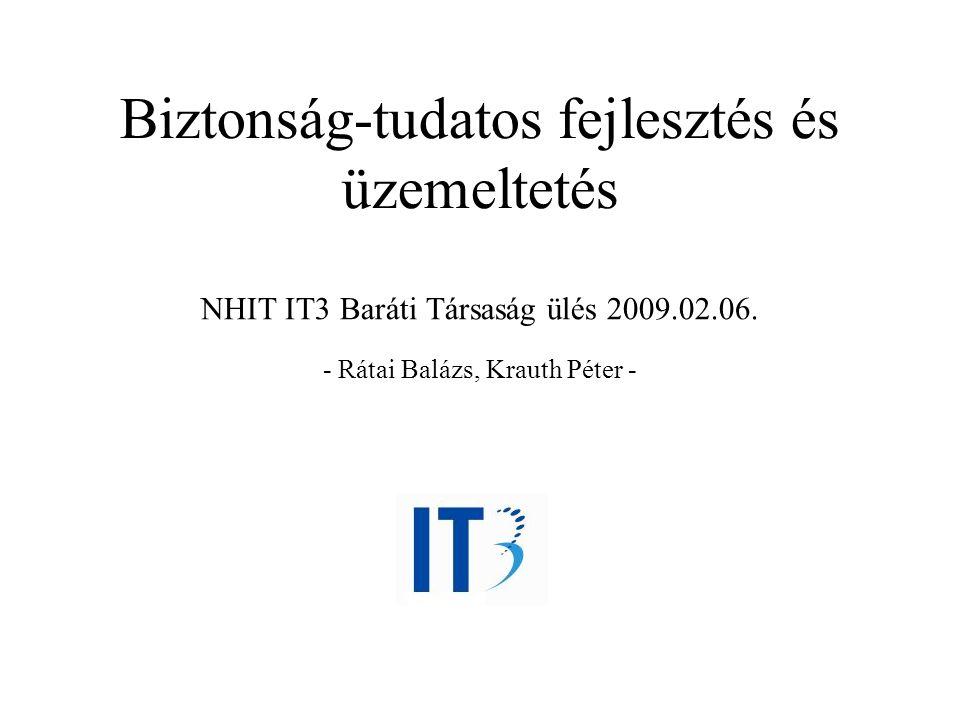 Biztonság-tudatos fejlesztés és üzemeltetés NHIT IT3 Baráti Társaság ülés 2009.02.06. - Rátai Balázs, Krauth Péter -