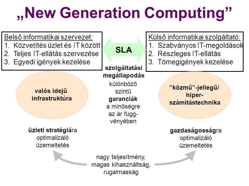 Szolgáltatás-orientált alkalmazások (SaaS) használata IT-közművek elterjedése Virtualizáció minden szinten Valós idejű infrastruktúrák megjelenése Automatikus hibadetektálás és -javítás Technológiai tényezők Cloud Computing IT-szolgáltatás- menedzsment- folyamatok és -eszközök Nagy megbízhatóságú eszközök tömeges elterjedése Terhelésoptimalizáló mechanizmusok Web, mint platform Grid Web-szolgáltatások IPv6/ NGN
