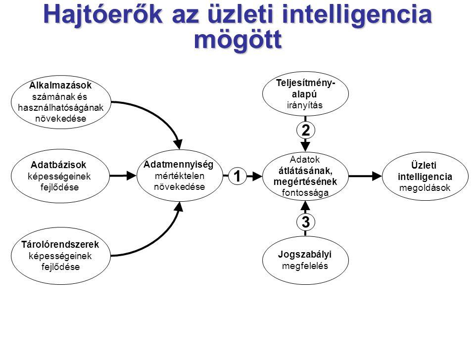 Hajtóerők az üzleti intelligencia mögött Alkalmazások számának és használhatóságának növekedése Adatbázisok képességeinek fejlődése Tárolórendszerek képességeinek fejlődése Adatmennyiség mértéktelen növekedése Adatok átlátásának, megértésének fontossága Teljesítmény- alapú irányítás Jogszabályi megfelelés Üzleti intelligencia megoldások 2 1 3