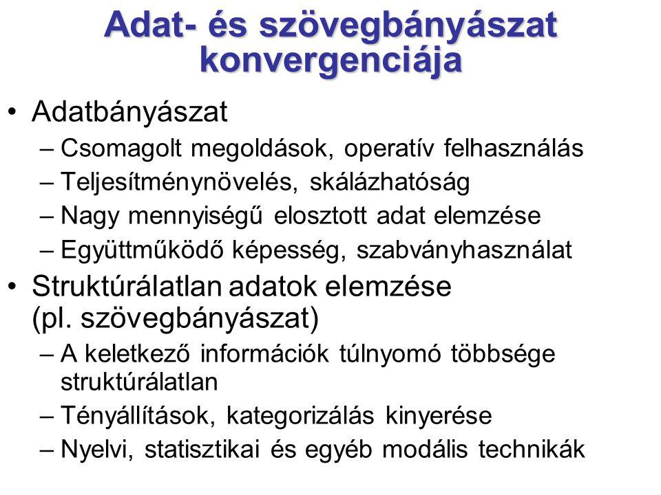 Adat- és szövegbányászat konvergenciája Adatbányászat –Csomagolt megoldások, operatív felhasználás –Teljesítménynövelés, skálázhatóság –Nagy mennyiség