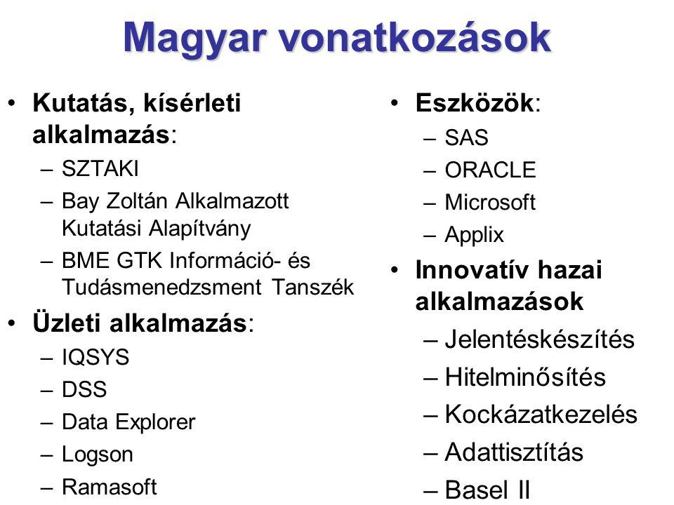 Magyar vonatkozások Kutatás, kísérleti alkalmazás: –SZTAKI –Bay Zoltán Alkalmazott Kutatási Alapítvány –BME GTK Információ- és Tudásmenedzsment Tanszék Üzleti alkalmazás: –IQSYS –DSS –Data Explorer –Logson –Ramasoft Eszközök: –SAS –ORACLE –Microsoft –Applix Innovatív hazai alkalmazások –Jelentéskészítés –Hitelminősítés –Kockázatkezelés –Adattisztítás –Basel II