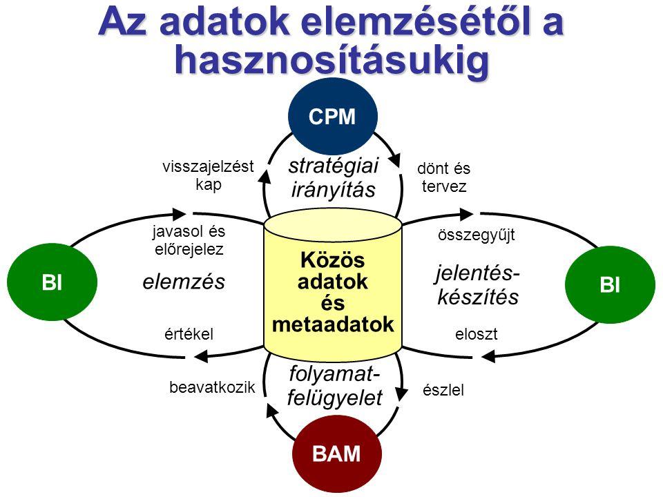 javasol és előrejelez értékel összegyűjt eloszt dönt és tervez visszajelzést kap stratégiai irányítás észlel beavatkozik folyamat- felügyelet Közös adatok és metaadatok CPM BI BAM BI elemzés jelentés- készítés Az adatok elemzésétől a hasznosításukig