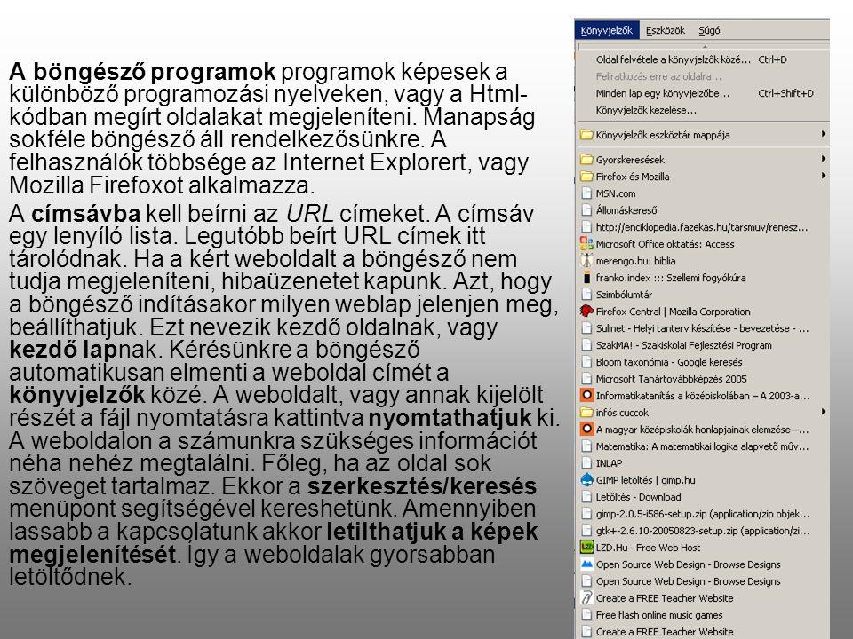 A böngésző programok programok képesek a különböző programozási nyelveken, vagy a Html- kódban megírt oldalakat megjeleníteni.