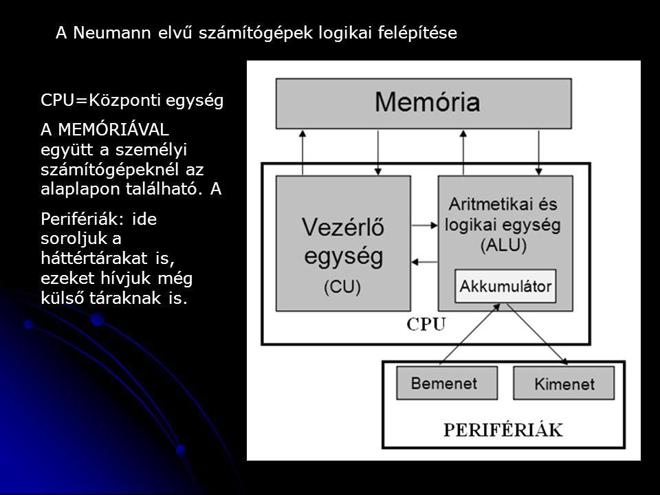 A Neumann elvű számítógépek logikai felépítése CPU=Központi egység A MEMÓRIÁVAL együtt a személyi számítógépeknél az alaplapon található. A Perifériák