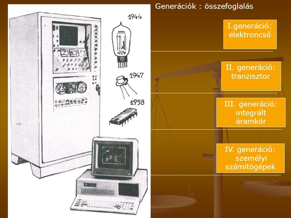 I.generáció: elektroncső II. generáció: tranzisztor III. generáció: integrált áramkör IV. generáció: személyi számítógépek Generációk : összefoglalás