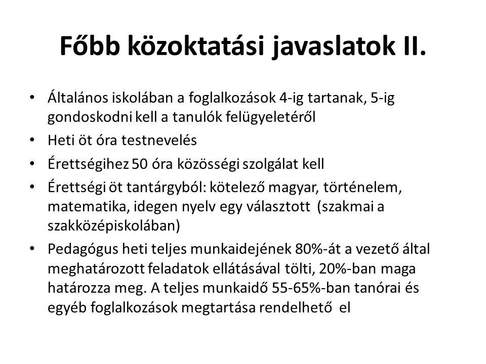 Főbb közoktatási javaslatok II.
