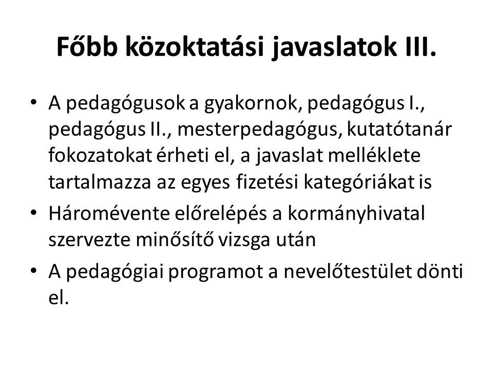 Főbb közoktatási javaslatok III.