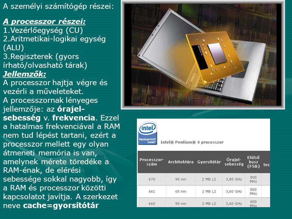 A személyi számítógép részei: A processzor részei: 1.Vezérlőegység (CU) 2.Aritmetikai-logikai egység (ALU) 3.Regiszterek (gyors írható/olvasható tárak