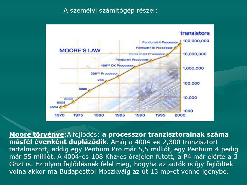 Moore törvénye:A fejlődés: a processzor tranzisztorainak száma másfél évenként duplázódik. Amíg a 4004-es 2,300 tranzisztort tartalmazott, addig egy P