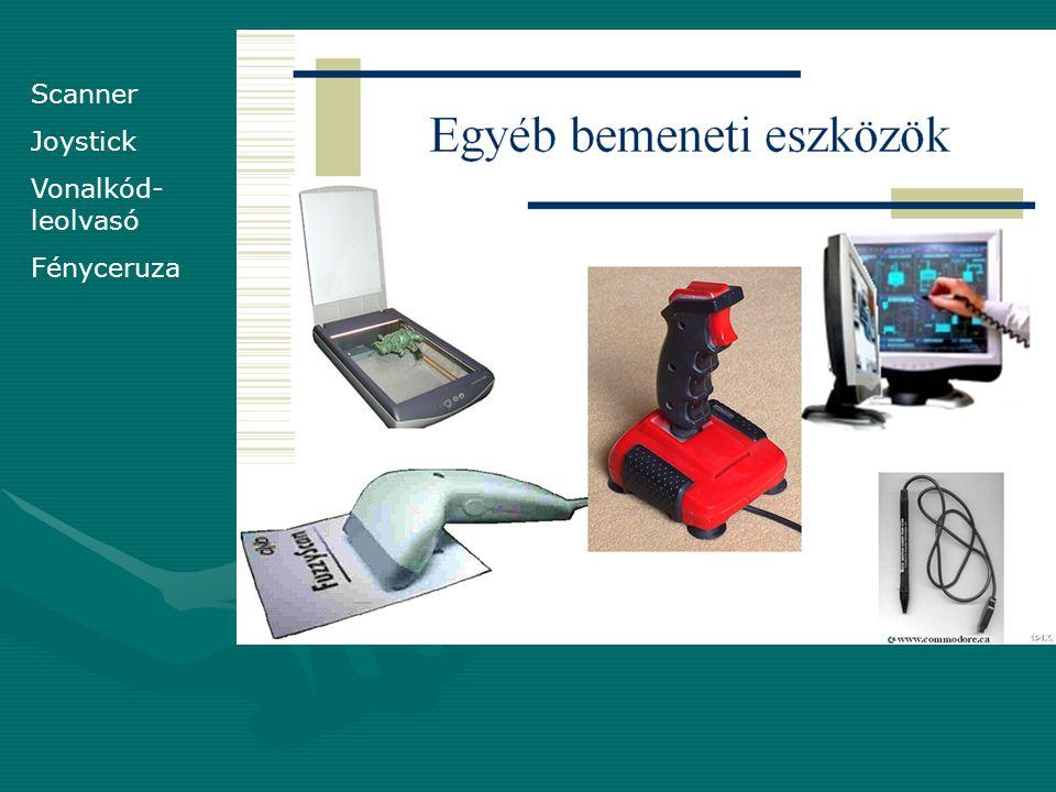 Perifériák: csak kiviteli eszközök=output eszközök Elsődleges kiviteli eszköz a monitor.