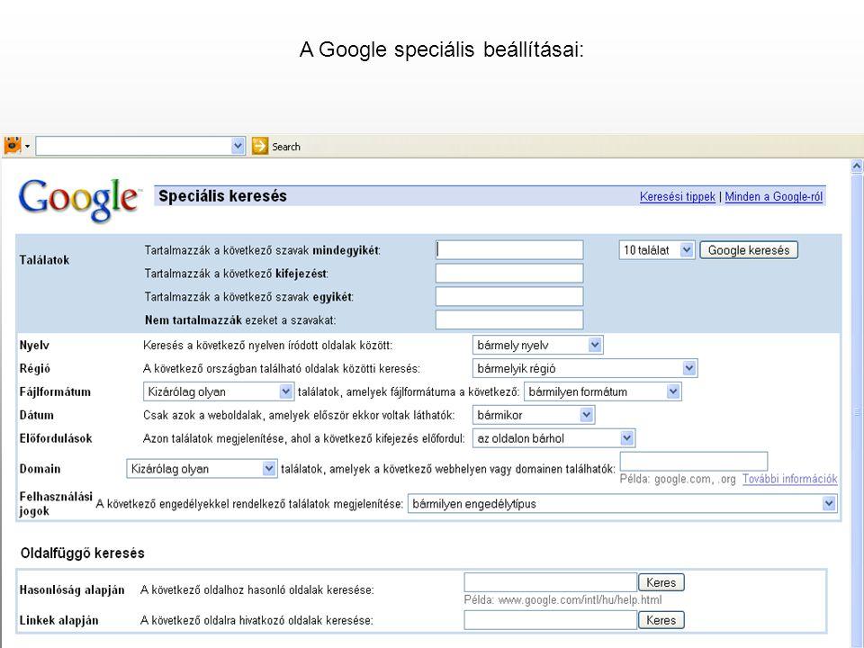 A Google speciális beállításai: