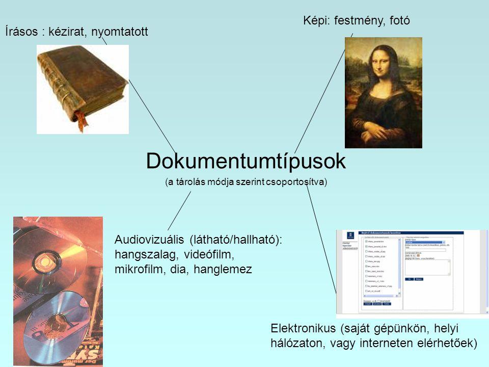 Dokumentumtípusok (a tárolás módja szerint csoportosítva) Írásos : kézirat, nyomtatott Képi: festmény, fotó Audiovizuális (látható/hallható): hangszal