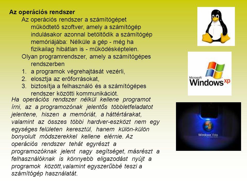 Az operációs rendszer Az operációs rendszer a számítógépet működtető szoftver, amely a számítógép indulásakor azonnal betöltődik a számítógép memóriáj