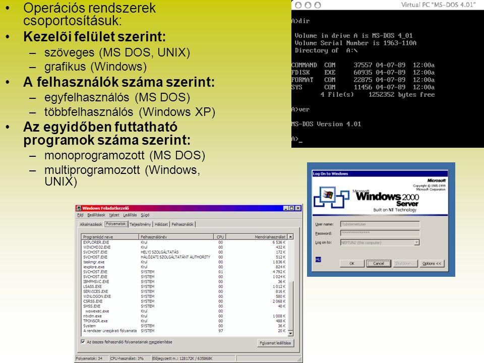 Operációs rendszerek csoportosításuk: Kezelõi felület szerint: –szöveges (MS DOS, UNIX) –grafikus (Windows) A felhasználók száma szerint: –egyfelhaszn