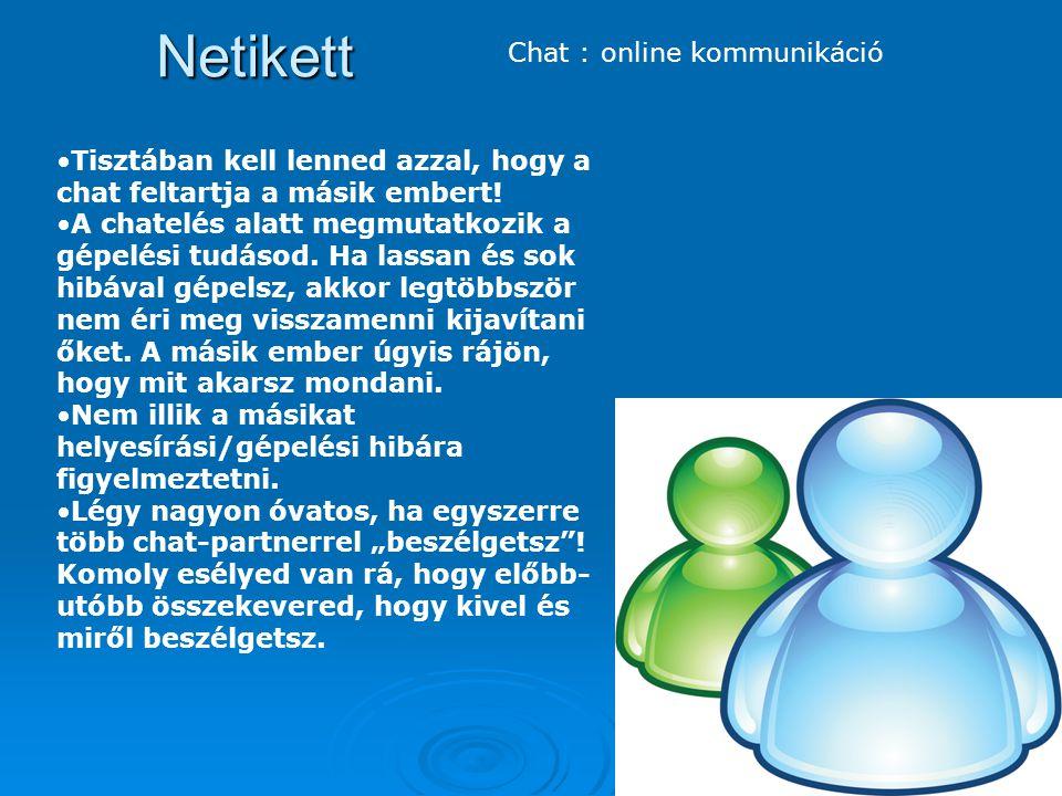 Netikett Chat : online kommunikáció Tisztában kell lenned azzal, hogy a chat feltartja a másik embert! A chatelés alatt megmutatkozik a gépelési tudás