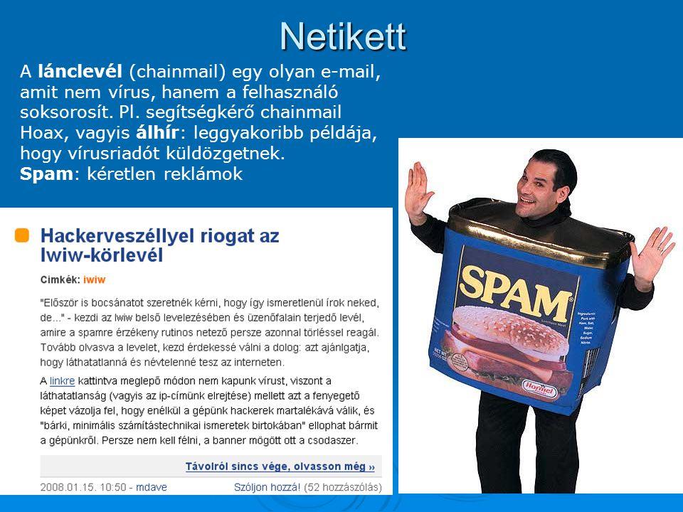 Netikett A lánclevél (chainmail) egy olyan e-mail, amit nem vírus, hanem a felhasználó soksorosít. Pl. segítségkérő chainmail Hoax, vagyis álhír: legg