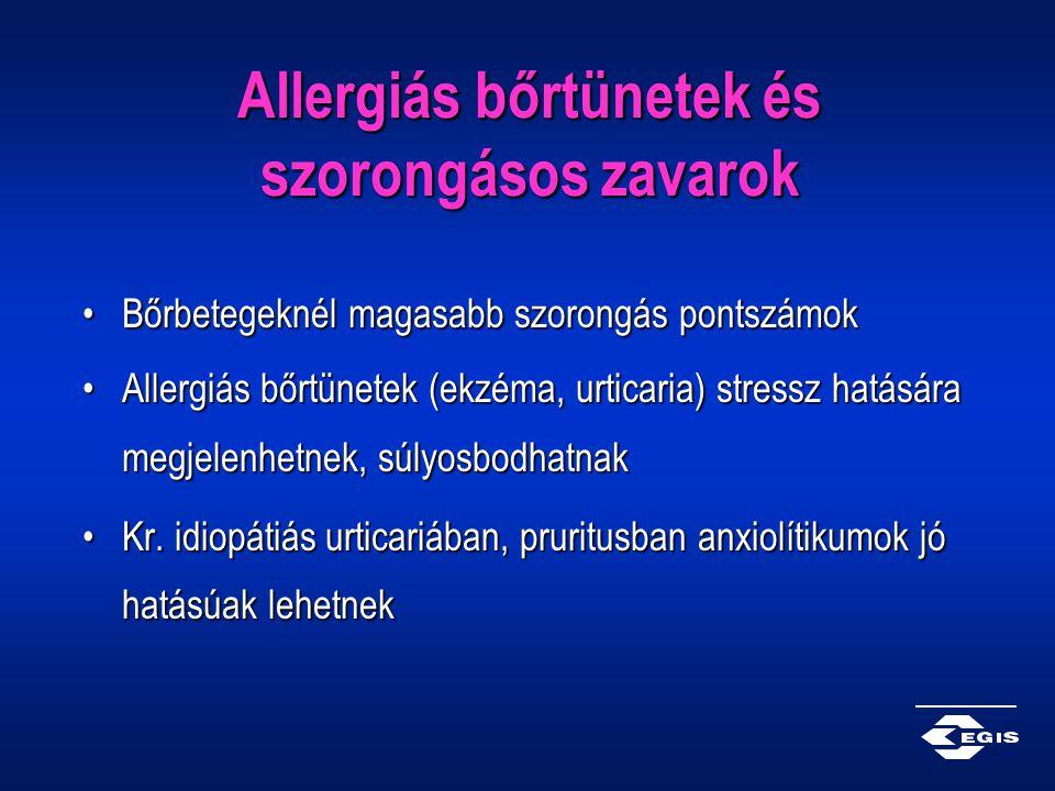 Allergiás bőrtünetek és szorongásos zavarok Bőrbetegeknél magasabb szorongás pontszámokBőrbetegeknél magasabb szorongás pontszámok Allergiás bőrtünete