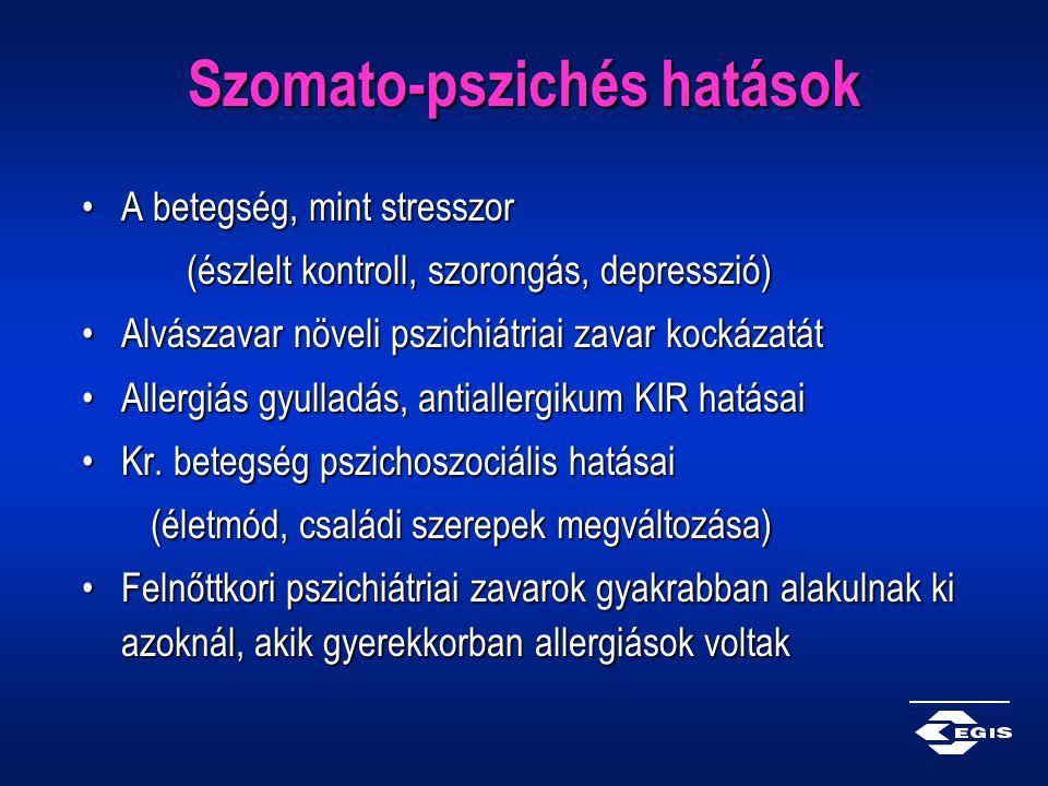 Szomato-pszichés hatások A betegség, mint stresszorA betegség, mint stresszor (észlelt kontroll, szorongás, depresszió) Alvászavar növeli pszichiátria