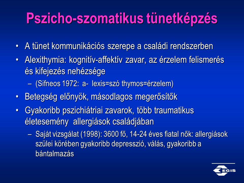 Pszicho-szomatikus tünetképzés A tünet kommunikációs szerepe a családi rendszerbenA tünet kommunikációs szerepe a családi rendszerben Alexithymia: kog