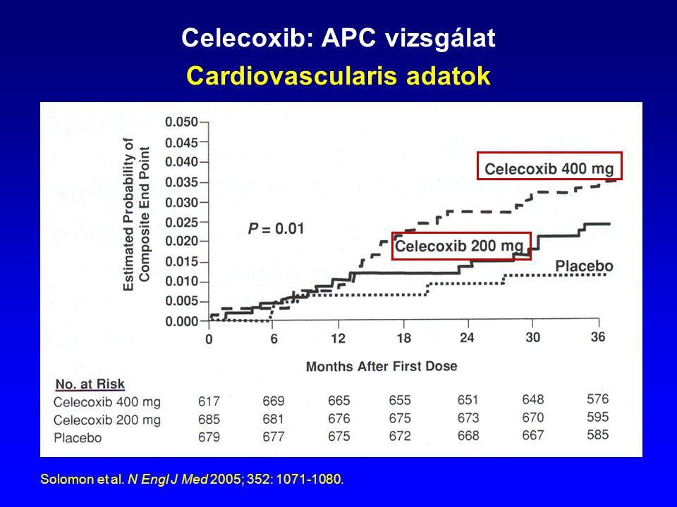 Celecoxib: APC vizsgálat Cardiovascularis adatok Solomon et al. N Engl J Med 2005; 352: 1071-1080.