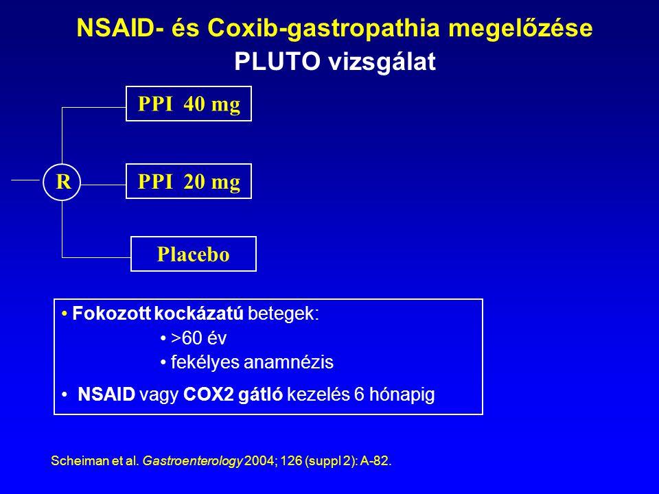 NSAID- és Coxib-gastropathia megelőzése PLUTO vizsgálat Placebo PPI 40 mg Fokozott kockázatú betegek: >60 év fekélyes anamnézis NSAID vagy COX2 gátló