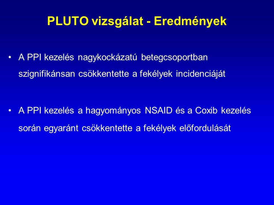 PLUTO vizsgálat - Eredmények A PPI kezelés nagykockázatú betegcsoportban szignifikánsan csökkentette a fekélyek incidenciáját A PPI kezelés a hagyomán