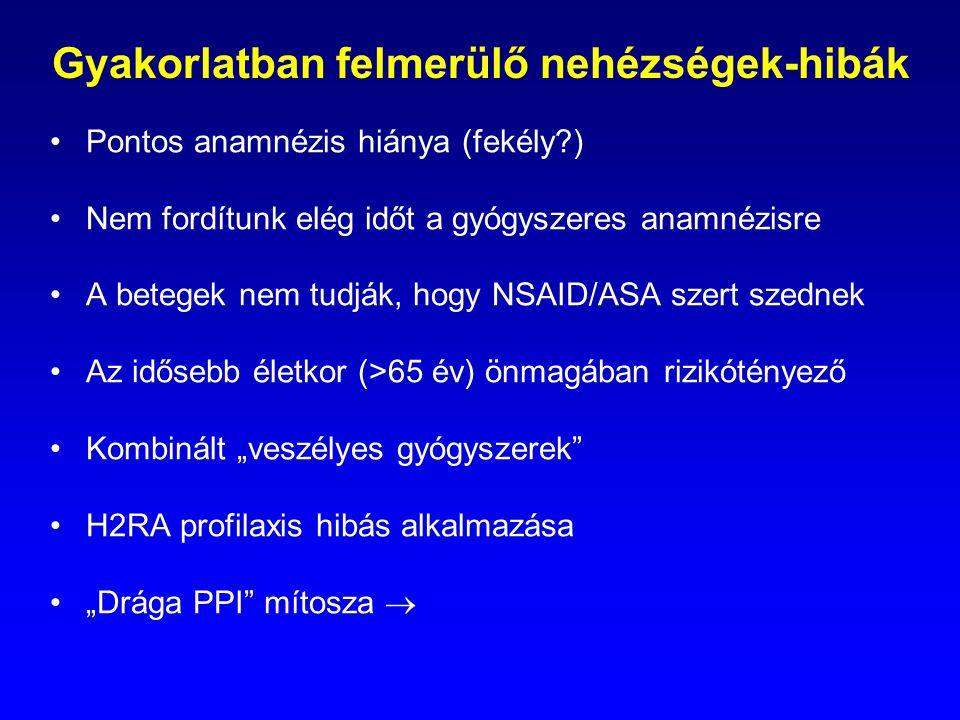 Gyakorlatban felmerülő nehézségek-hibák Pontos anamnézis hiánya (fekély?) Nem fordítunk elég időt a gyógyszeres anamnézisre A betegek nem tudják, hogy
