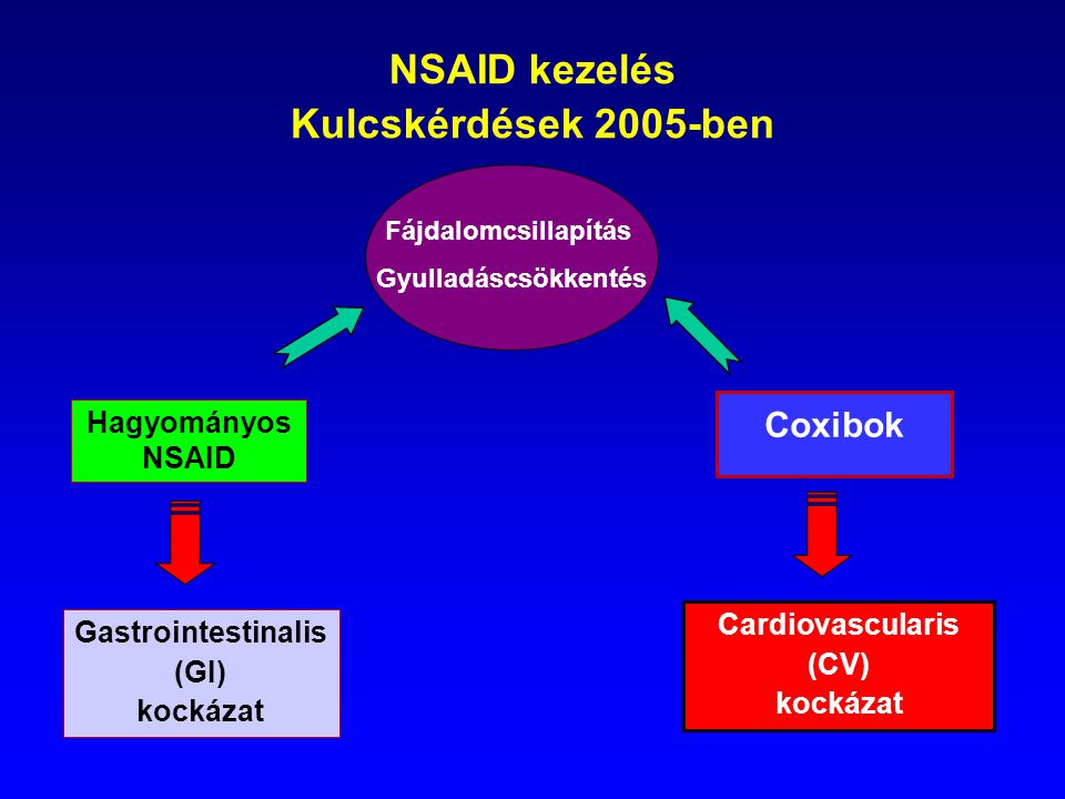 NSAID kezelés Kulcskérdések 2005-ben Hagyományos NSAID Coxibok Gastrointestinalis (GI) kockázat Cardiovascularis (CV) kockázat Fájdalomcsillapítás Gyu
