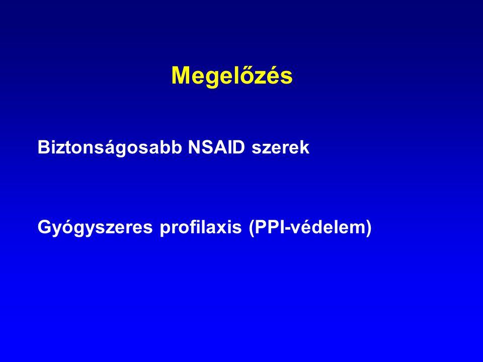 Megelőzés Biztonságosabb NSAID szerek Gyógyszeres profilaxis (PPI-védelem)