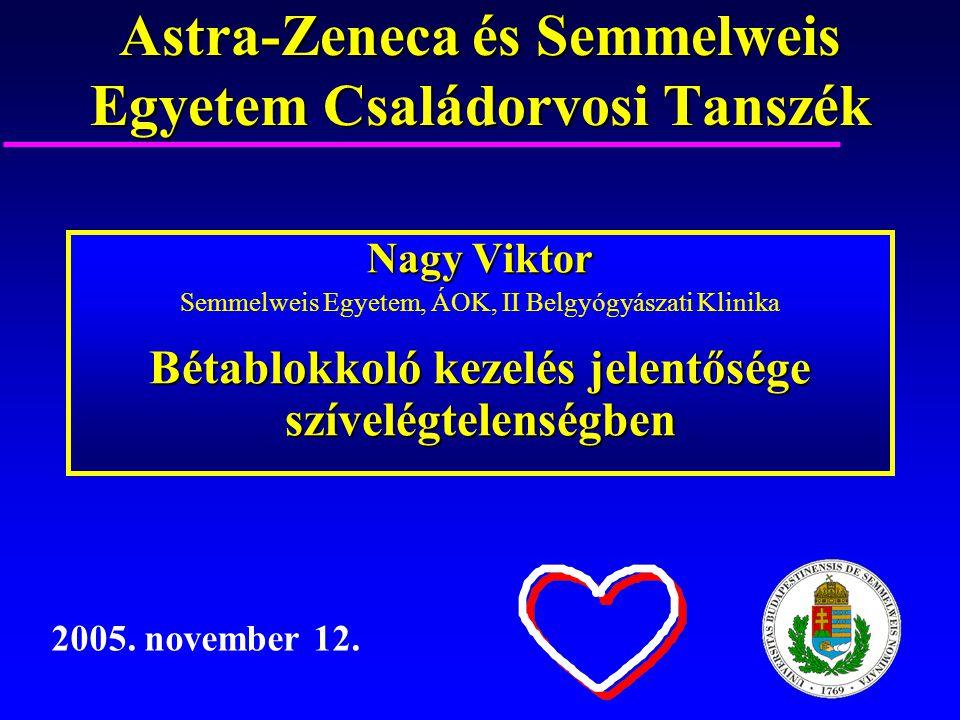 Astra-Zeneca és Semmelweis Egyetem Családorvosi Tanszék Nagy Viktor Semmelweis Egyetem, ÁOK, II Belgyógyászati Klinika Bétablokkoló kezelés jelentőség