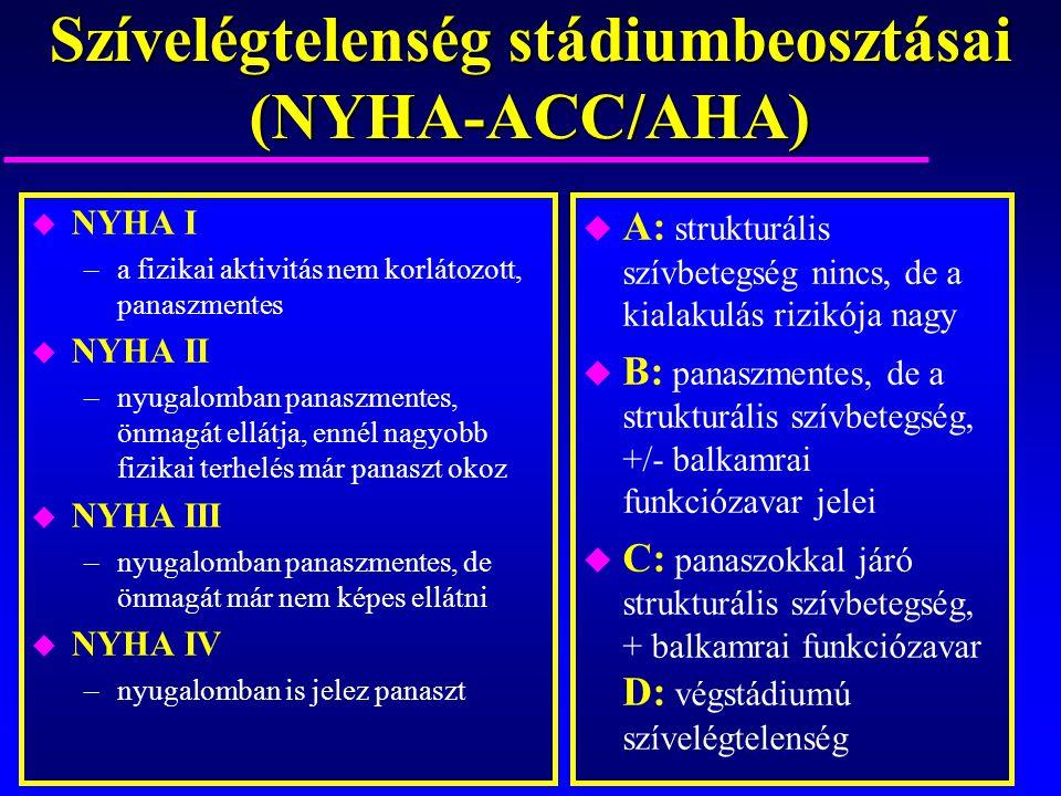 Szívelégtelenség stádiumbeosztásai (NYHA-ACC/AHA) u NYHA I –a fizikai aktivitás nem korlátozott, panaszmentes u NYHA II –nyugalomban panaszmentes, önm