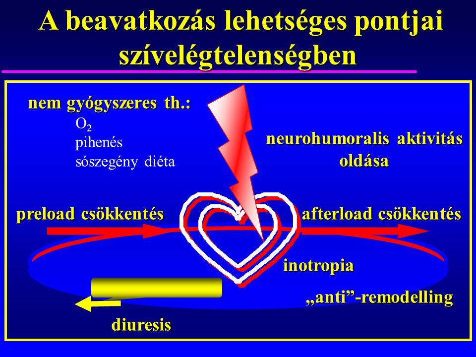 A beavatkozás lehetséges pontjai szívelégtelenségben A beavatkozás lehetséges pontjai szívelégtelenségben neurohumoralis aktivitás oldása preload csök