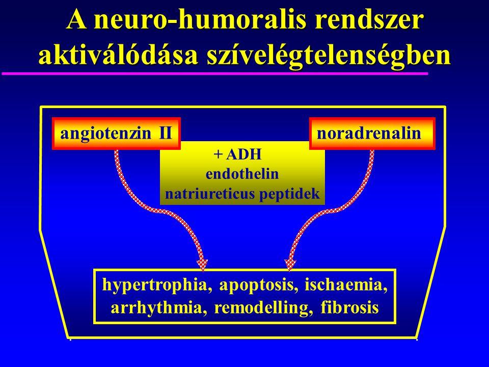 A neuro-humoralis rendszer aktiválódása szívelégtelenségben hypertrophia, apoptosis, ischaemia, arrhythmia, remodelling, fibrosis.. + ADH endothelin n