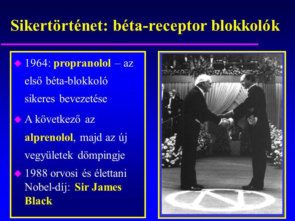 Sikertörténet: béta-receptor blokkolók u 1964: propranolol – az első béta-blokkoló sikeres bevezetése u A következő az alprenolol, majd az új vegyület
