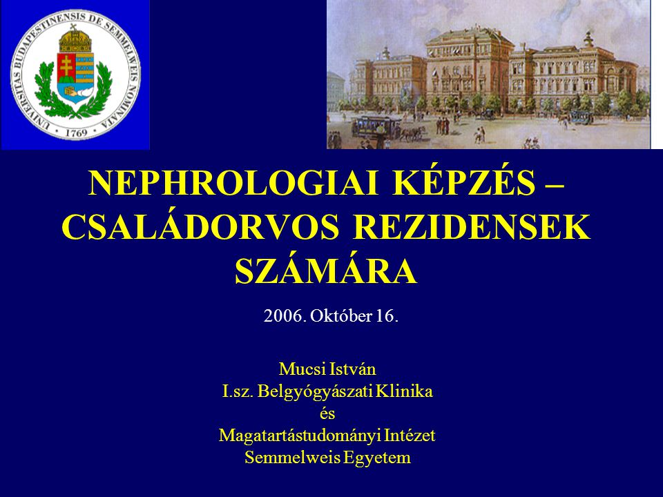 NEPHROLOGIAI KÉPZÉS – CSALÁDORVOS REZIDENSEK SZÁMÁRA Mucsi István I.sz. Belgyógyászati Klinika és Magatartástudományi Intézet Semmelweis Egyetem 2006.