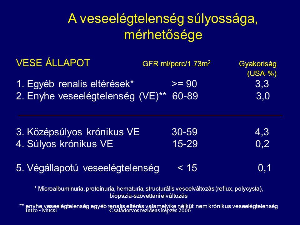 Intro - MucsiCsaládorvos rezidens képzés 2006 A veseelégtelenség súlyossága, mérhetősége VESE ÁLLAPOT GFR ml/perc/1.73m 2 Gyakoriság (USA-%) 1. Egyéb