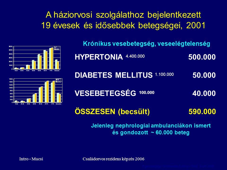 Intro - MucsiCsaládorvos rezidens képzés 2006 A háziorvosi szolgálathoz bejelentkezett 19 évesek és idősebbek betegségei, 2001 Krónikus vesebetegség,