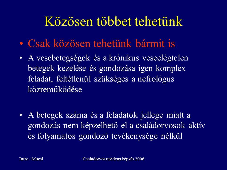 Intro - MucsiCsaládorvos rezidens képzés 2006 Vese funkciói, vizsgálata Glomerularis betegségek Akut veseelélgtelenség, elektrolitzavarok Diabeteses nephropathia EBÉD!!!!!!!!!!!!!.