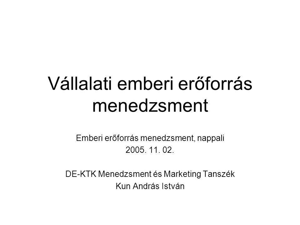 Vállalati emberi erőforrás menedzsment Emberi erőforrás menedzsment, nappali 2005. 11. 02. DE-KTK Menedzsment és Marketing Tanszék Kun András István