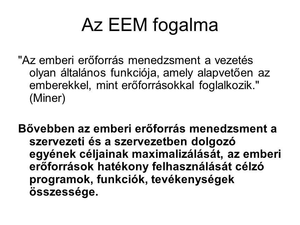 Az EEM stratégia származtatása Vállalati vízió, misszió  Összvállalati stratégia  EEM stratégia (funkcionális stratégiák)  EEM akciótervezés (taktikai, majd operatív)