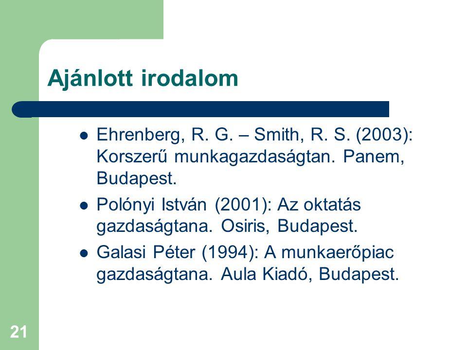 21 Ajánlott irodalom Ehrenberg, R. G. – Smith, R. S. (2003): Korszerű munkagazdaságtan. Panem, Budapest. Polónyi István (2001): Az oktatás gazdaságtan