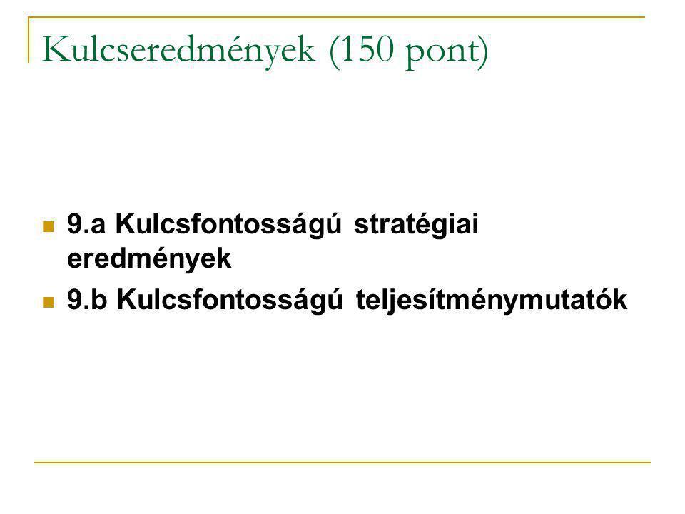 Kulcseredmények (150 pont) 9.a Kulcsfontosságú stratégiai eredmények 9.b Kulcsfontosságú teljesítménymutatók