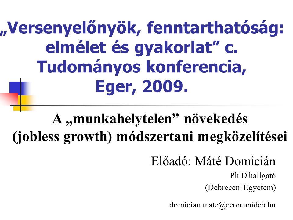 """""""Versenyelőnyök, fenntarthatóság: elmélet és gyakorlat"""" c. Tudományos konferencia, Eger, 2009. Előadó: Máté Domicián Ph.D hallgató (Debreceni Egyetem)"""