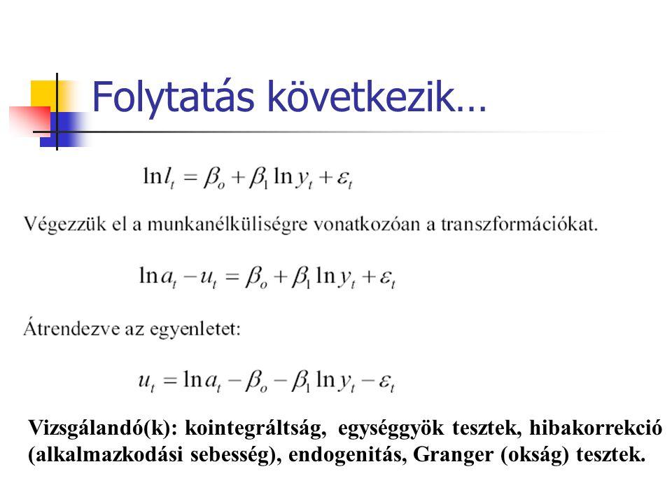 Folytatás következik… Vizsgálandó(k): kointegráltság, egységgyök tesztek, hibakorrekció (alkalmazkodási sebesség), endogenitás, Granger (okság) tesztek.
