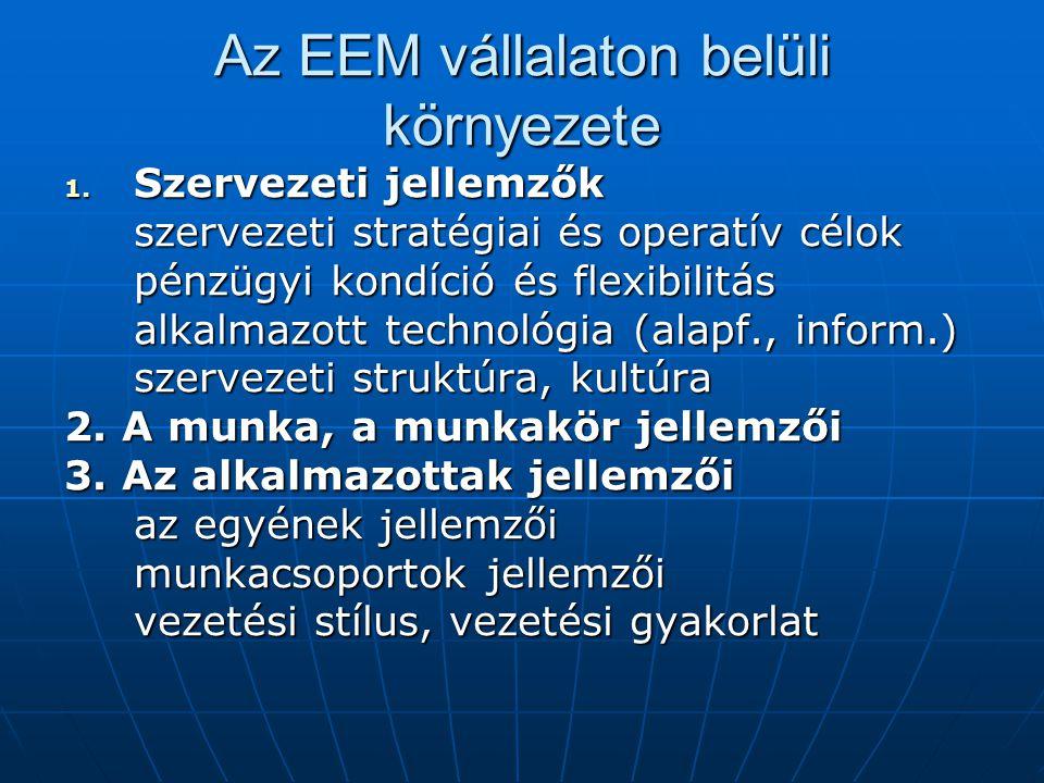 Az EEM vállalaton belüli környezete 1. Szervezeti jellemzők szervezeti stratégiai és operatív célok pénzügyi kondíció és flexibilitás alkalmazott tech