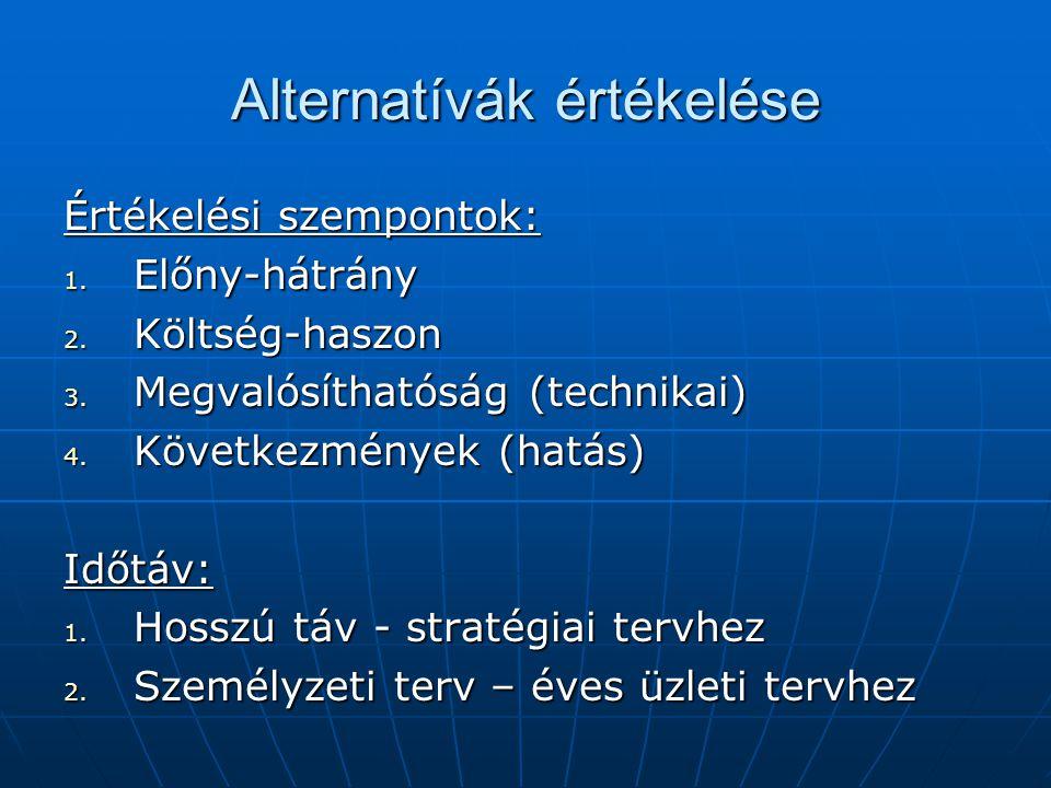 Alternatívák értékelése Értékelési szempontok: 1. Előny-hátrány 2. Költség-haszon 3. Megvalósíthatóság (technikai) 4. Következmények (hatás) Időtáv: 1
