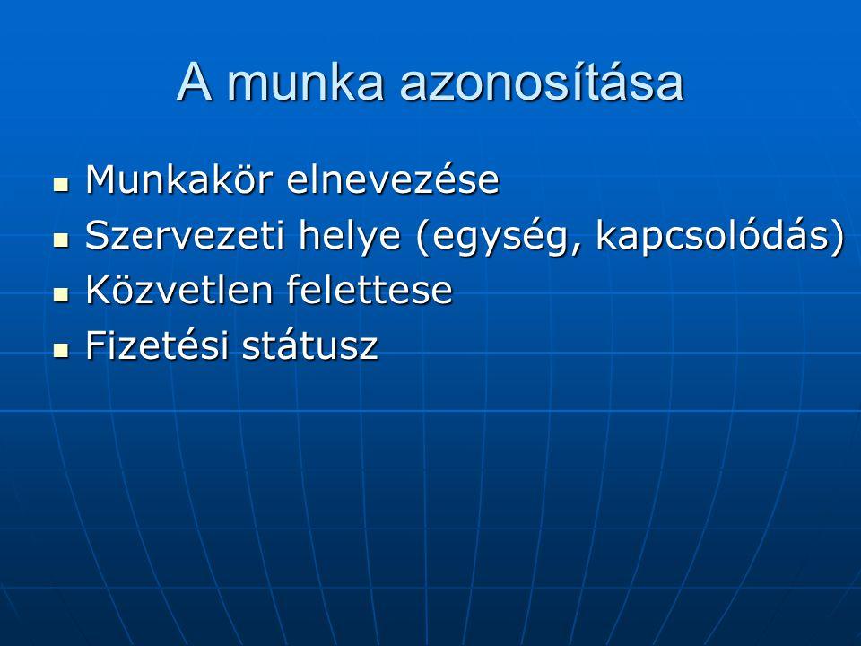 A munka azonosítása Munkakör elnevezése Munkakör elnevezése Szervezeti helye (egység, kapcsolódás) Szervezeti helye (egység, kapcsolódás) Közvetlen fe