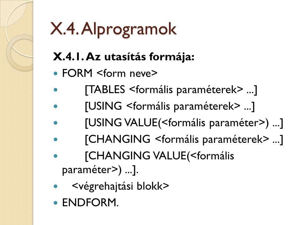 X.4.Alprogramok X.4.1.