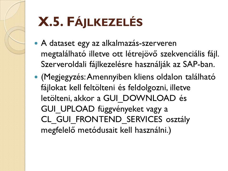 X.5. F ÁJLKEZELÉS A dataset egy az alkalmazás-szerveren megtalálható illetve ott létrejövő szekvenciális fájl. Szerveroldali fájlkezelésre használják