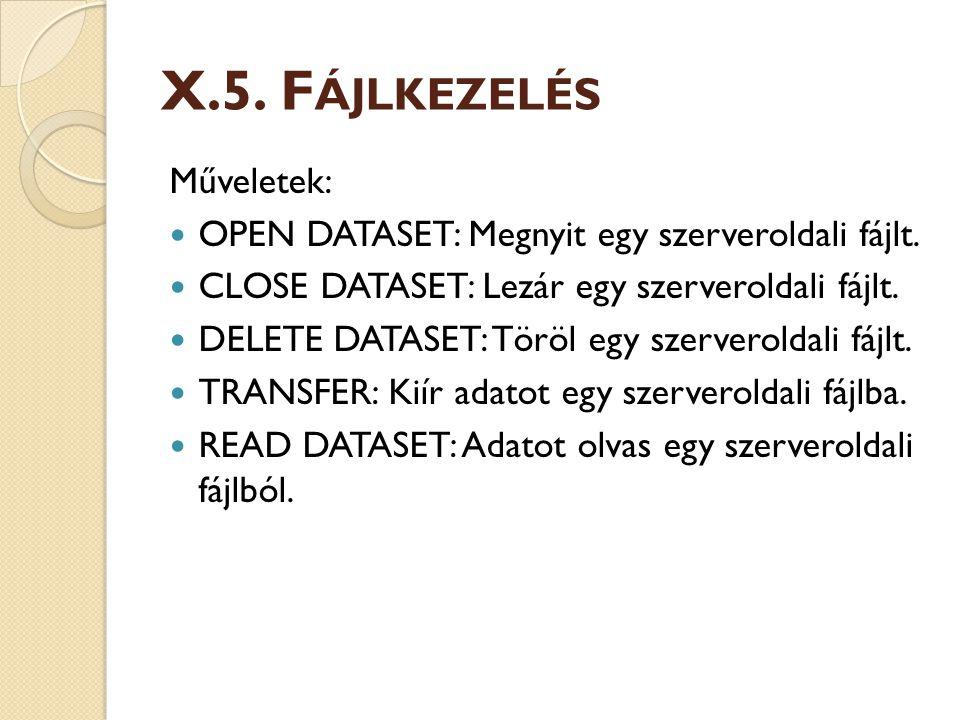 X.5.F ÁJLKEZELÉS Műveletek: OPEN DATASET: Megnyit egy szerveroldali fájlt.